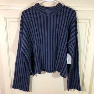 BP Crop Sweater Shadow Ribbed Navy & Blue Sz 1X